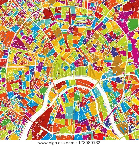 Moscow, Capital Of Russia, Colorful Vector Map