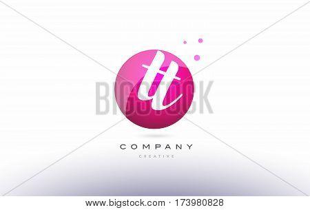 Tt T  Sphere Pink 3D Hand Written Alphabet Letter Logo