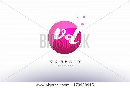 Vd V D  Sphere Pink 3D Hand Written Alphabet Letter Logo