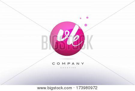 Vk V K  Sphere Pink 3D Hand Written Alphabet Letter Logo