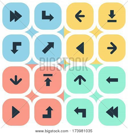 Set Of 16 Simple Arrows Icons. Can Be Found Such Elements As Increasing, Advanced, Downwards Pointing And Other.