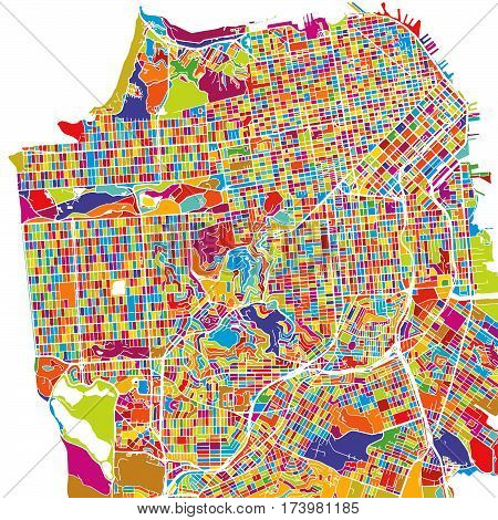 San Francisco, Usa, Colorful Vector Map