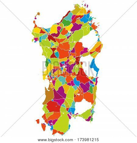 Sardinia, Island, Italy, Colorful Vector Map