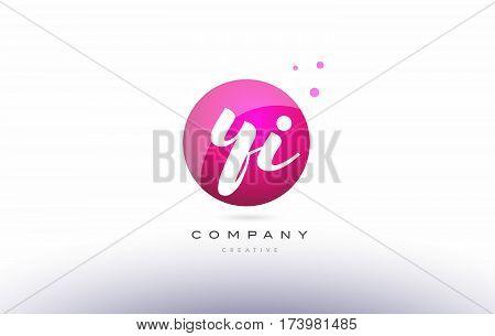 Yi Y I  Sphere Pink 3D Hand Written Alphabet Letter Logo