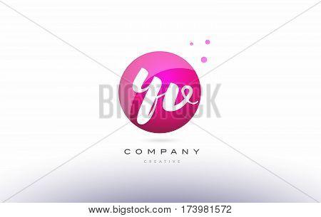 Yv Y V  Sphere Pink 3D Hand Written Alphabet Letter Logo