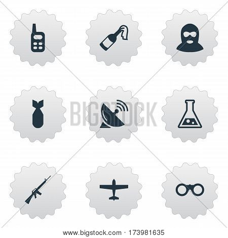 Set Of 9 Simple Army Icons. Can Be Found Such Elements As Signal Receiver, Rifle Gun, Chemistry And Other.