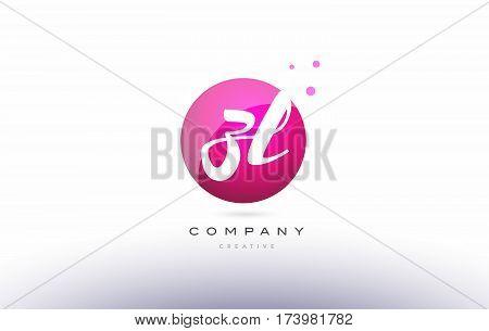 Zl Z L  Sphere Pink 3D Hand Written Alphabet Letter Logo