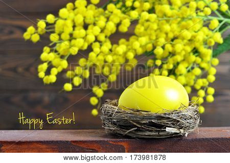 Happy Easter card: Easter egg and mimosa