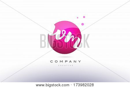 Wm W M  Sphere Pink 3D Hand Written Alphabet Letter Logo