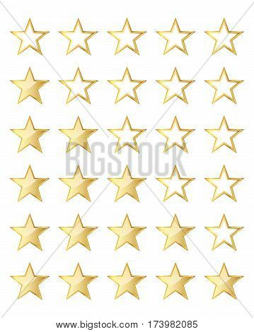 Golden stars rating template isolated on white background. Vector illustration. Glossy rating stars.