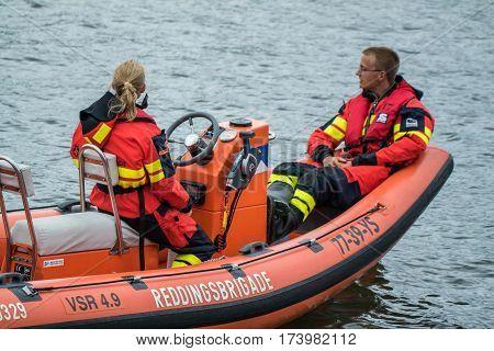 IJMUIDEN, NETHERLANDS - AUGUST 18 2015 : Water rescue brigades at the Ijmuiden harbour festival