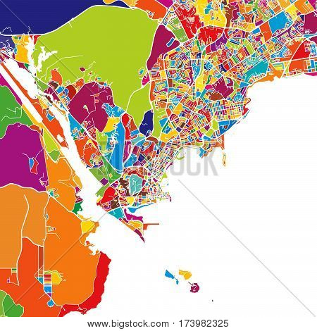 Panama City Colorful Map