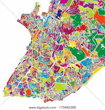 Município De Salvador Colorful Map