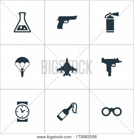 Set Of 9 Simple Battle Icons. Can Be Found Such Elements As Chemistry, Extinguisher, Molotov And Other.
