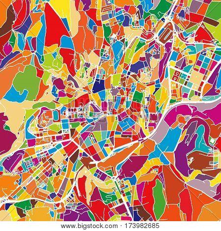 Santiago De Compostela Colorful Vector Map