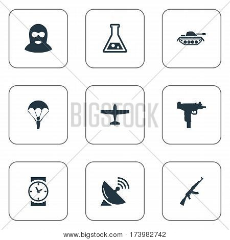 Set Of 9 Simple Army Icons. Can Be Found Such Elements As Paratrooper, Signal Receiver, Chemistry And Other.