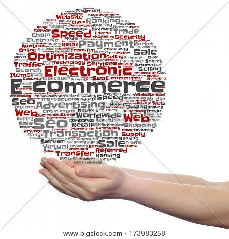 Concept or conceptual E-commerce electronic sales circle word cloud in hands isolated on background