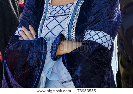 CAGLIARI, ITALY - October 29, 2016: Invitas waterfront Porto Sardinia performances of traditions and food. - Detail of a costume of the Association