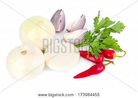 Collection of garlic and onion with pepper and parsley isolated on white background.