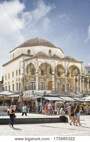 ATHENS, GREECE, SEPTEMBER 8, 2016: Exterior shot of Tsisdarakis Mosque, an Ottoman mosque, built in 1759, in Monastiraki Square, central Athens, Greece.