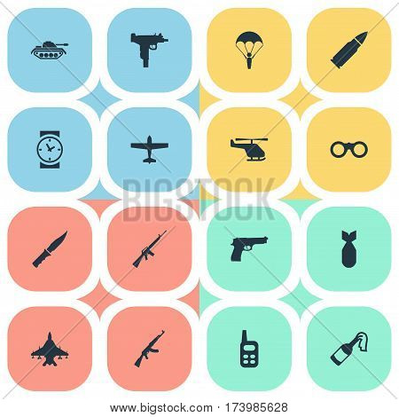 Set Of 16 Simple Terror Icons. Can Be Found Such Elements As Kalashnikov, Ammunition, Cold Weapon And Other.