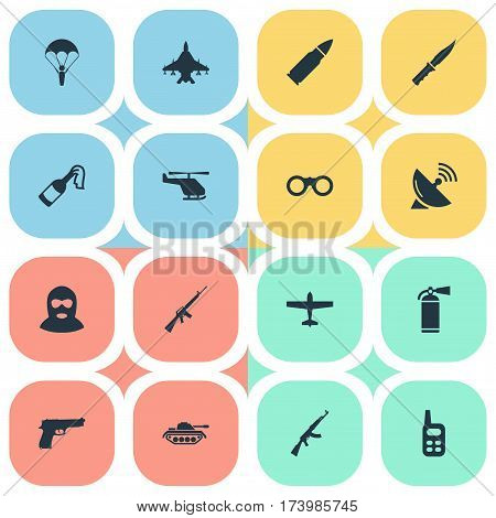 Set Of 16 Simple Battle Icons. Can Be Found Such Elements As Helicopter, Kalashnikov, Signal Receiver And Other.