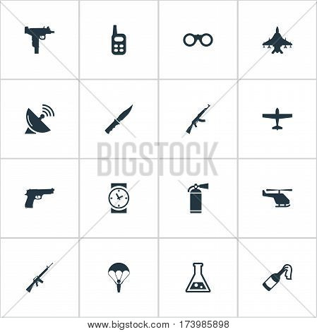 Set Of 16 Simple Battle Icons. Can Be Found Such Elements As Paratrooper, Kalashnikov, Firearm And Other.