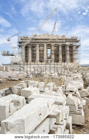 The Parthenon Under Renovation, Acropolis, Athens, Greece