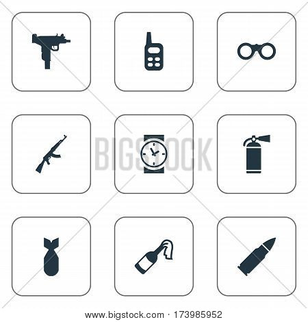 Set Of 9 Simple War Icons. Can Be Found Such Elements As Molotov, Kalashnikov, Ammunition And Other.