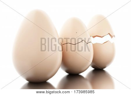 3D Perfect Egg, Cracked Egg And Broken Pieces Of Shells