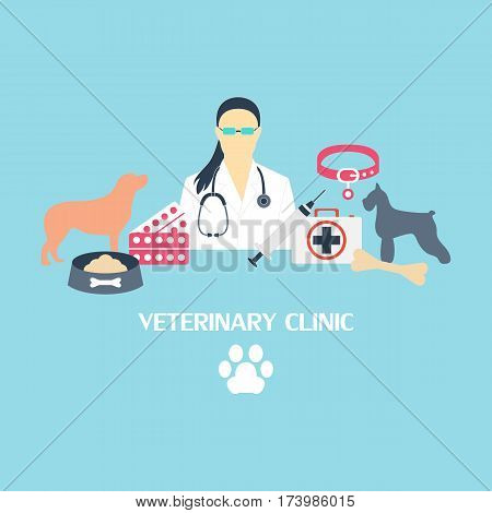 Veterinary clinic collection with dog and laboratory equipment
