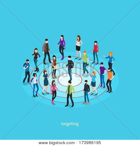 Targeting isometric template with people crowd on target and one person in center isolated vector illustration