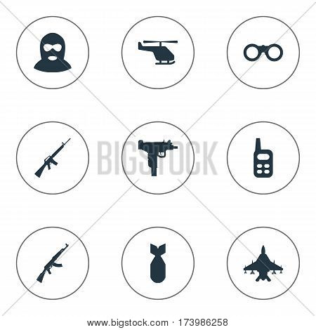 Set Of 9 Simple Terror Icons. Can Be Found Such Elements As Rifle Gun, Terrorist, Walkies And Other.