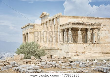 The Erechtheion at Acropolis of Athens, Greece