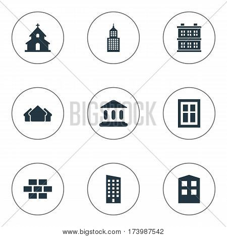 Set Of 9 Simple Construction Icons. Can Be Found Such Elements As Construction, Stone, Popish And Other.