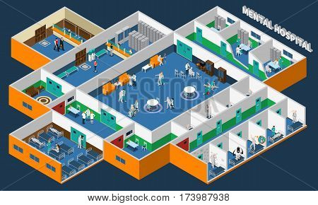 Mental hospital isometric interior with office patients and staff common rooms and separate wards vector illustration
