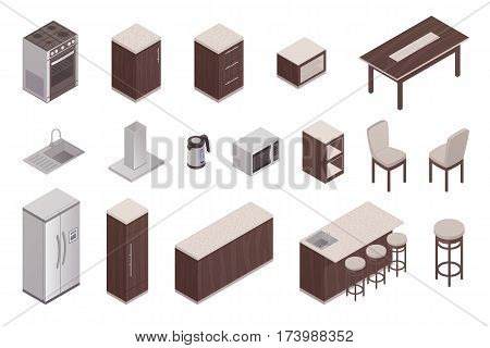Isolated isometric elements of kitchen interior with refrigerator table oven microwave washer ventilation unit 3d vector illustration