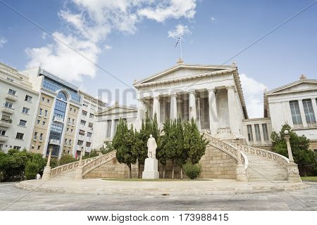 ATHENS, GREECE, SEPTEMBER 8, 2016: Exterior view of National Library Of Greece situated near the center of city of Athens.