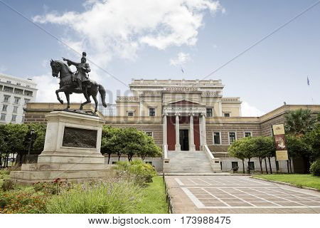 ATHENS, GREECE, SEPTEMBER 8, 2016: Exterior shot of National History Museum located in the Old Parliament House at Stadiou Street in Athens, Greece.