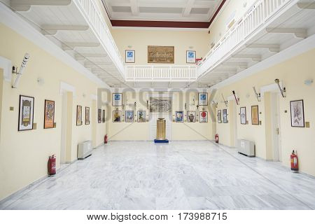 ATHENS, GREECE, SEPTEMBER 8, 2016: Interior detail from Olympics Museum inside Panathenaic Stadium also known as Kallimarmaro, Athens, Greece.
