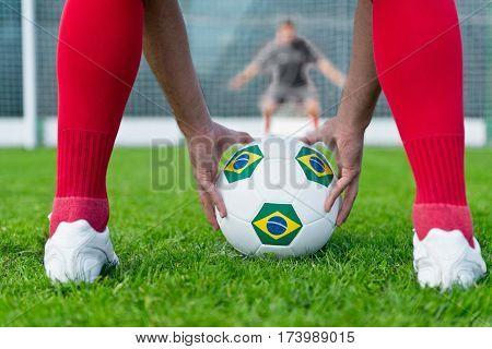 Penalty shootout, toned image, horizontal image, selective focus