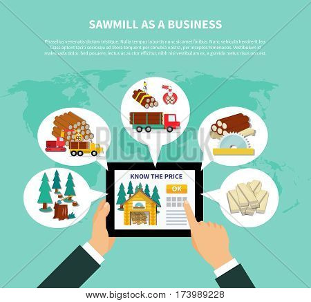 Sawmill as a business composition with businessman s hands holding tab and viewing website on know the price page vector illustration