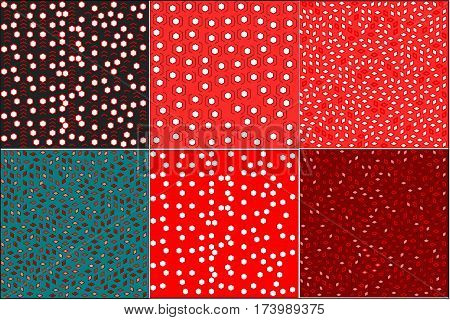 set of six backgrounds with black and red and blue and burgundy tone pointer lines, hexagons and petals arranged around the drawing