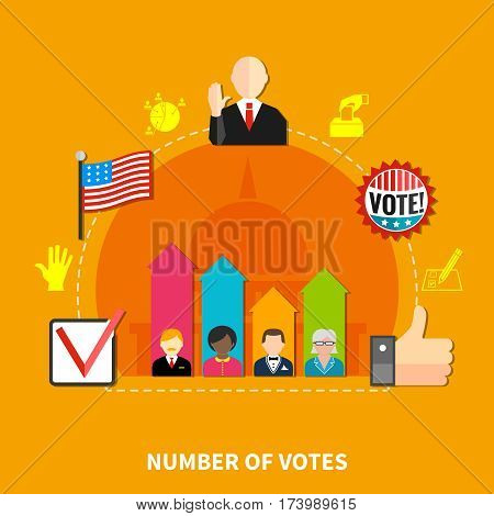 Ranking of candidates for the parliamentary elections, orange background, flat vector illustrations