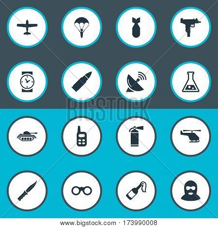 Set Of 16 Simple Terror Icons. Can Be Found Such Elements As Field Glasses, Chemistry, Watch And Other.