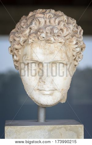 ATHENS, GREECE, SEPTEMBER 9, 2016: Statue head from Museum of the Ancient Agora inside Stoa of Attalos, Athens, Greece.