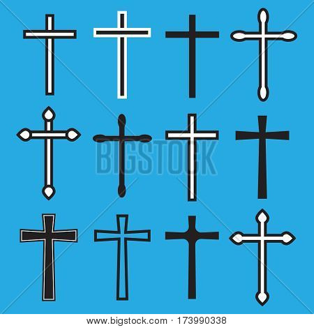 Christian cross icons. line black christian cross. Cross vector