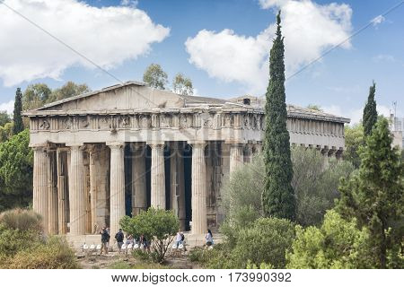 ATHENS, GREECE, SEPTEMBER 7, 2016: Exterior shot of Temple of Hephaestus, a Doric peripteral temple, and is located at the northwest side of the Agora of Athens, on top of the Agoraios Kolonos hill.