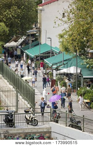 ATHENS, GREECE, SEPTEMBER 7, 2016: Streets near the Ancient Agora Of Athens, Greece