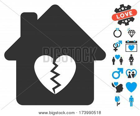 Divorce House Heart icon with bonus amour icon set. Vector illustration style is flat iconic blue and gray symbols on white background.